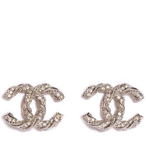 Chanel CC Crystal Twist Earrings, Silver